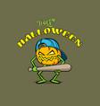 pumpkin character with a baseball bat and a cap vector image