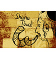 religious jew with a shofar hasid rosh hashanah vector image