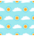 seamless pattern with sun and cloud on blue vector image vector image