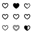 set of bold line graphic heart symbols vector image vector image