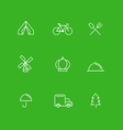Set of Simple Line Art Business Icons Travel vector image vector image