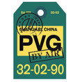 shanghai airport luggage tag vector image