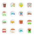 Street food kiosk vehicle icons set vector image vector image