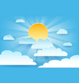 sun and cloud paper cut vector image vector image