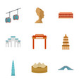 thailand icon set flat style vector image
