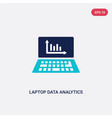 two color laptop data analytics graphic on screen vector image