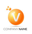 v letter splash orange dots and circle bubble vector image vector image