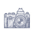 vintage old photo camera logo hand drawn vector image vector image