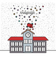 white background with sparkles of school building vector image