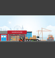 workers loading truck with packaged goods vector image vector image