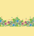 yellow folk art border with bellflower vector image