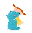 Girl hugging toy cute bear vector image