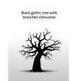 Black gothic tree with branches silhouette vector image