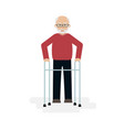 elderly man grandfather walking with a walker vector image