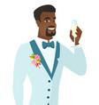 african-american groom holding glass of champagne vector image vector image