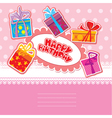 baby birthday card with gift boxes vector image vector image