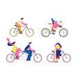 bike riders set isolated on white background vector image