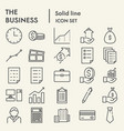 business line icon set office symbols collection vector image