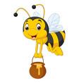 cartoon bee holding honey bucket vector image vector image