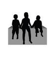 children sitting silhouette vector image