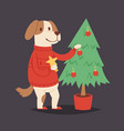 christmas dog cute cartoon puppy and tree vector image