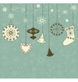 Christmas retro background with toys vector image vector image
