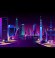 city megapolis on river at night vector image vector image