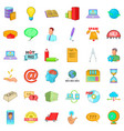 digital working icons set cartoon style vector image vector image