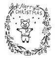doodle christmas wreath and cute pig vector image vector image