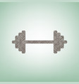 dumbbell weights sign brown flax icon on vector image vector image