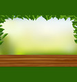 empty wooden floor with nature background vector image