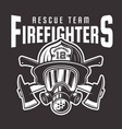 firefighters emblem or t-shirt print vector image vector image