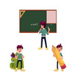 flat schoolboy character set isolated vector image vector image