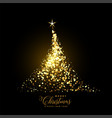 glowing gold christmas tree made with sparkles vector image vector image