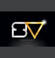 gold silver alphabet letter sv s v combination vector image vector image