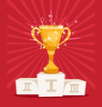 golden award prize cup on podium vector image vector image