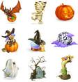 happy halloween of icons vector image vector image