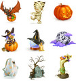Happy Halloween set of icons vector image