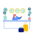 hotel reception female manager receptionist vector image