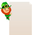 leprechaun looking at blank poster vector image