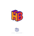 logo h and b letters block like 3d flat network we vector image