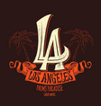 los angeles lettering t-shirt design vector image