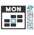 Monday Calendar Page Flat Icon With Bonus vector image vector image