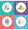 people in park have fun and rest cartoon banner vector image vector image