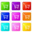 percent trolley icons set 9 color collection vector image vector image
