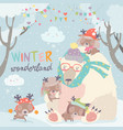 polar bear with cute little deers in snow forest vector image
