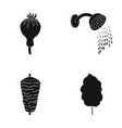 poppy head shower and other web icon in black vector image