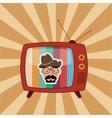 retro tv emblem image vector image
