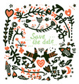 save the date wedding floral card vector image vector image