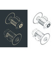 saw blade and motor isometric drawings vector image vector image